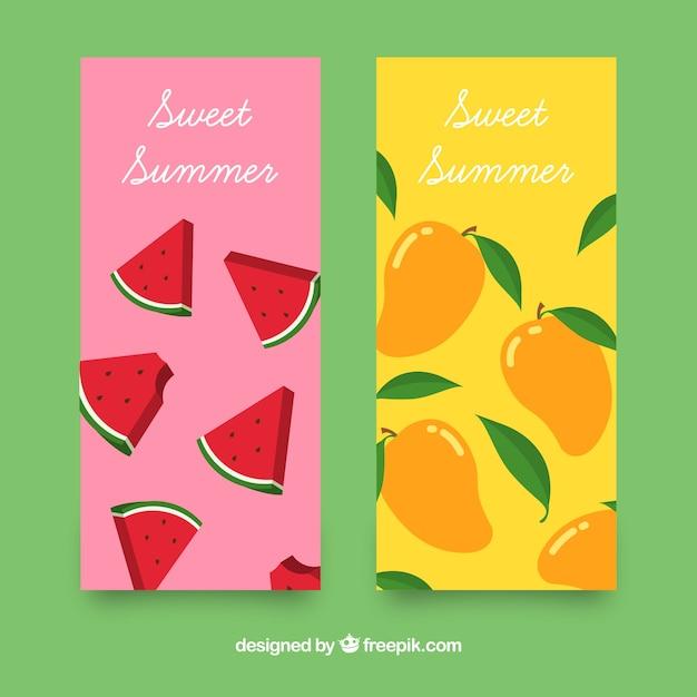 Farbige banner mit sommerfrüchten Kostenlosen Vektoren