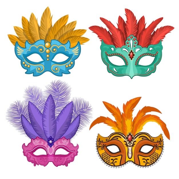 Farbige bilder von karnevals- oder theatermasken mit federn Premium Vektoren