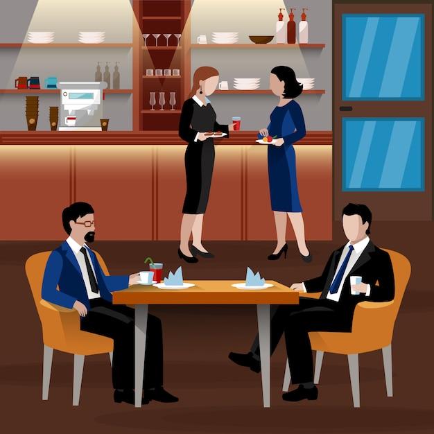 Farbige business-lunch-leute-zusammensetzung Kostenlosen Vektoren