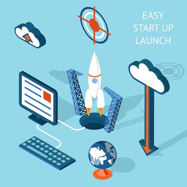 Farbige cartooned easy start-up start infografik mit schwerpunkt auf rakete und technologie. Kostenlosen Vektoren