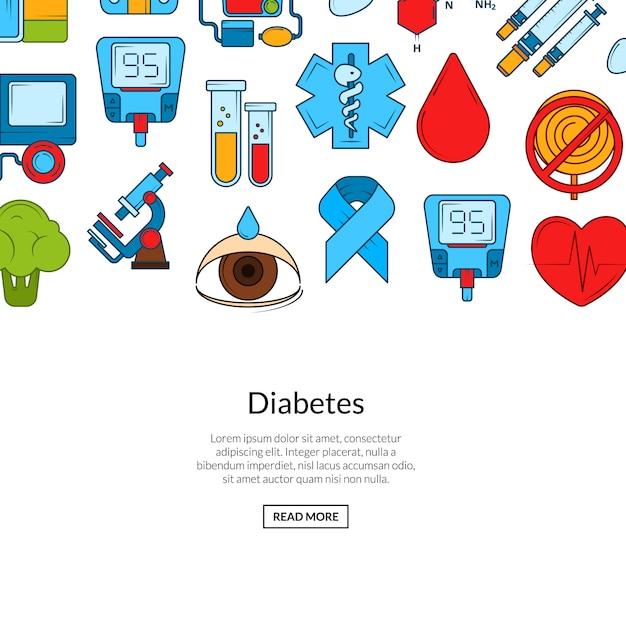 Farbige diabetes icons banner Premium Vektoren