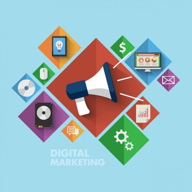 Farbige digitale marketing-ikonen Kostenlosen Vektoren
