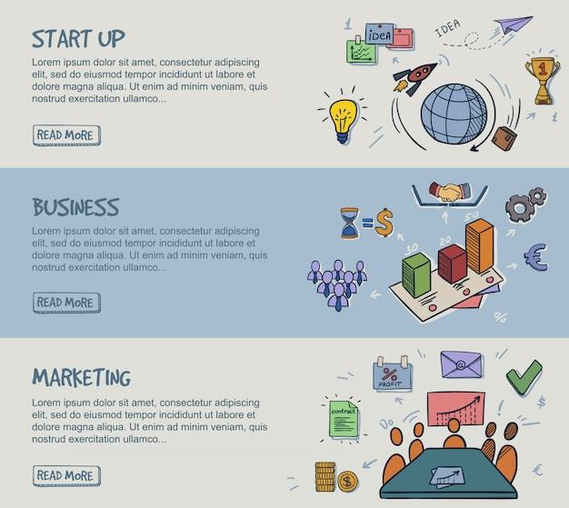 Farbige doodle infografik horizontale banner Kostenlosen Vektoren