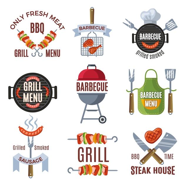 Farbige etiketten für grillparty festgelegt. gegrilltes essen Premium Vektoren