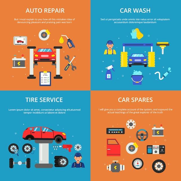 Farbige fahnen eingestellt von konzeptabbildungen von autodienstleistungen Premium Vektoren