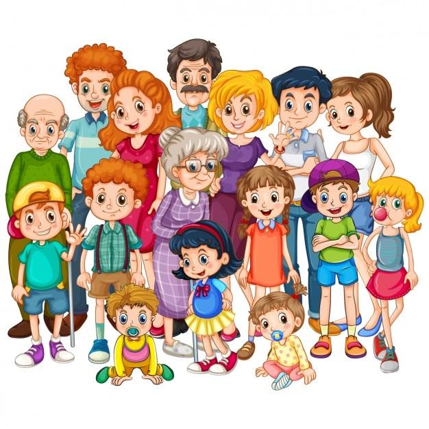 Farbige familie design Premium Vektoren