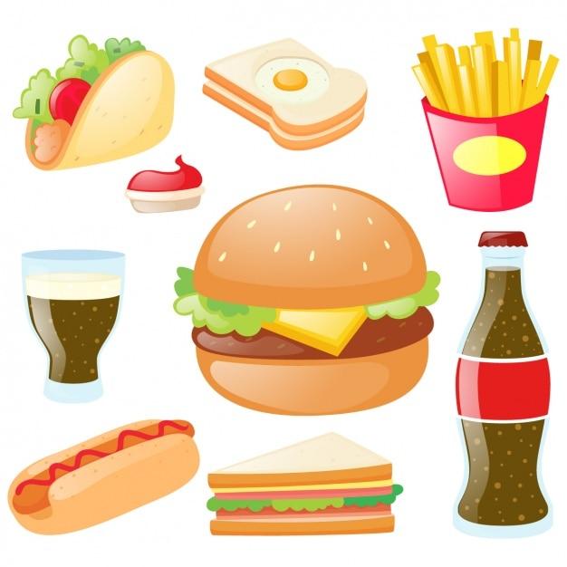 Farbige fast-food-sammlung Kostenlosen Vektoren