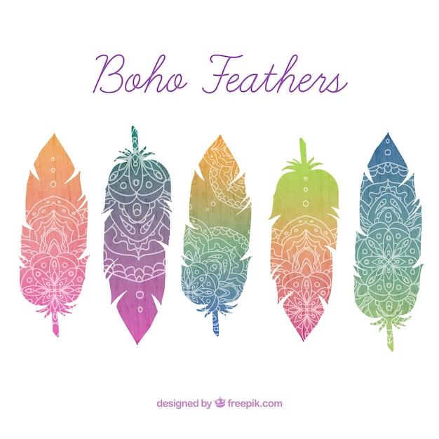 farbige federn mit hand gezeichneten ornamenten in boho stil download der kostenlosen vektor. Black Bedroom Furniture Sets. Home Design Ideas