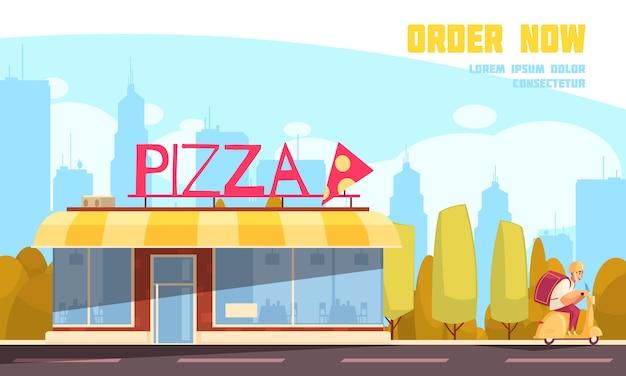 Farbige flache pizzeria im freien zusammensetzung mit bestellung jetzt überschrift und pizza store vektor-illustration Kostenlosen Vektoren