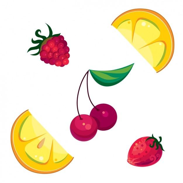 Farbige Fruchtstücke gesetzt | Download der kostenlosen Vektor