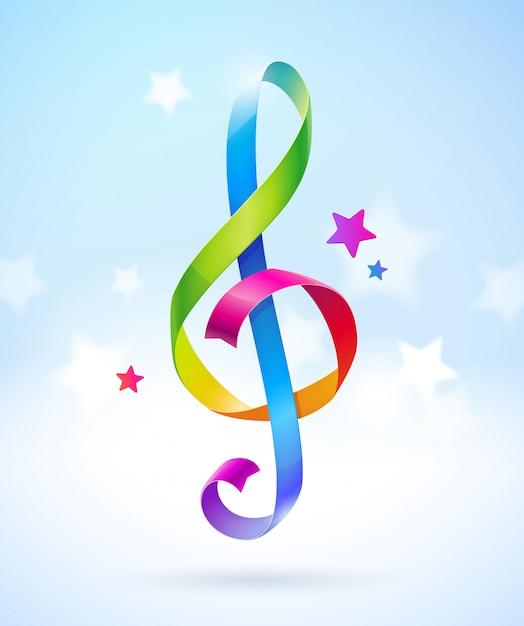 Farbige glänzende bänder in form eines violinschlüssels. illustration. Premium Vektoren