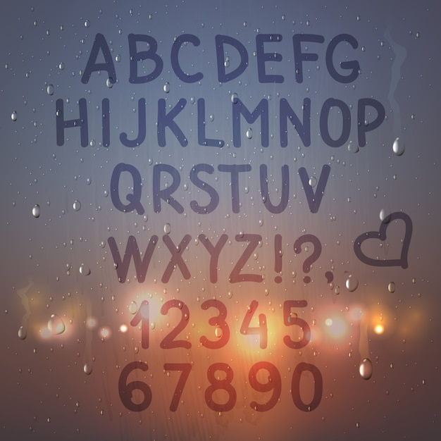 Farbige hand gezeichnetes realistisches alphabet und zahlen auf beschlagener glaszusammensetzung mit blitzlichtern Kostenlosen Vektoren