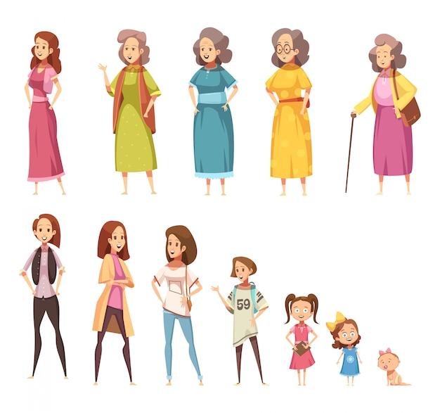 Farbige ikonen der frauengenerationsebene, die von allen alterskategorien von der kindheit bis zur reife eingestellt wurden, lokalisierten karikaturvektorillustration Kostenlosen Vektoren