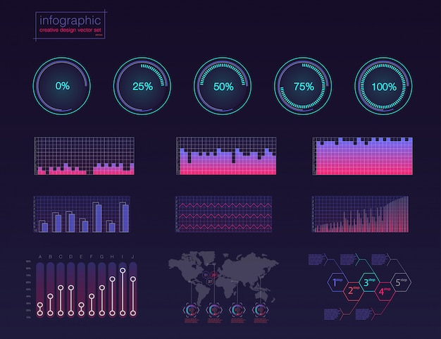 Farbige infographic digitale abbildung. kreative infografik des dashboard-themas Premium Vektoren