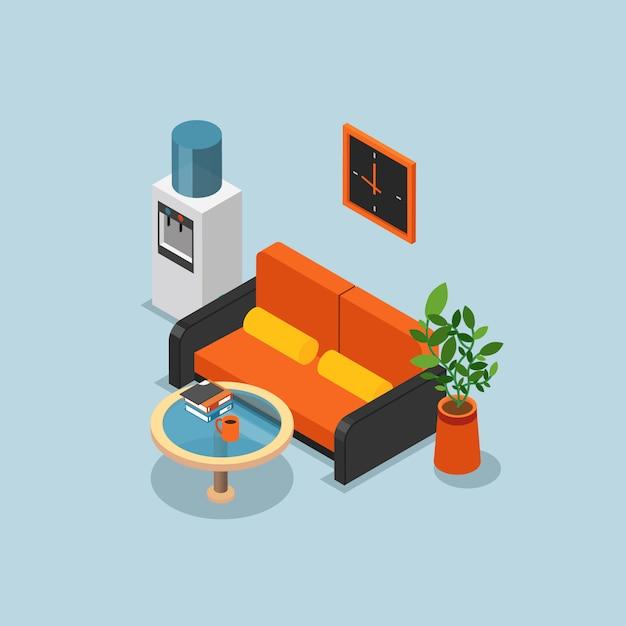 Farbige isometrische bürozusammensetzung mit hellblauen wänden orange couch und kühlerer vektorillustration Kostenlosen Vektoren