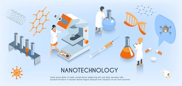Farbige isometrische horizontale zusammensetzung der nanotechnologie mit arbeiten von wissenschaftlern im labor Kostenlosen Vektoren