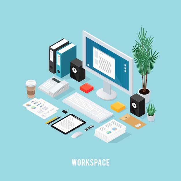 Farbige isometrische komposition des büroarbeitsbereichs Kostenlosen Vektoren