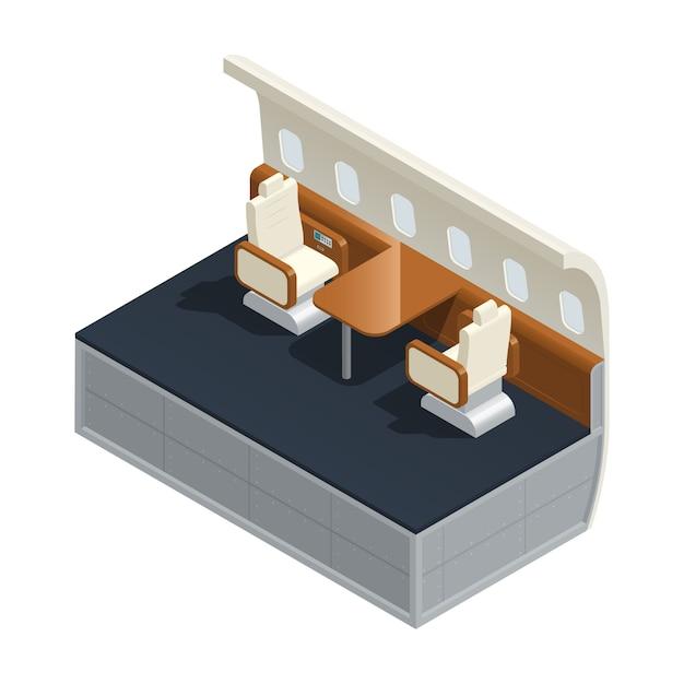 Farbige isometrische zusammensetzung des flugzeuginnenraums mit möbeln und annehmlichkeiten innerhalb der salonvektorillustration Kostenlosen Vektoren