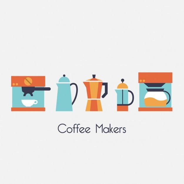 Farbige kaffeemaschinen design Kostenlosen Vektoren