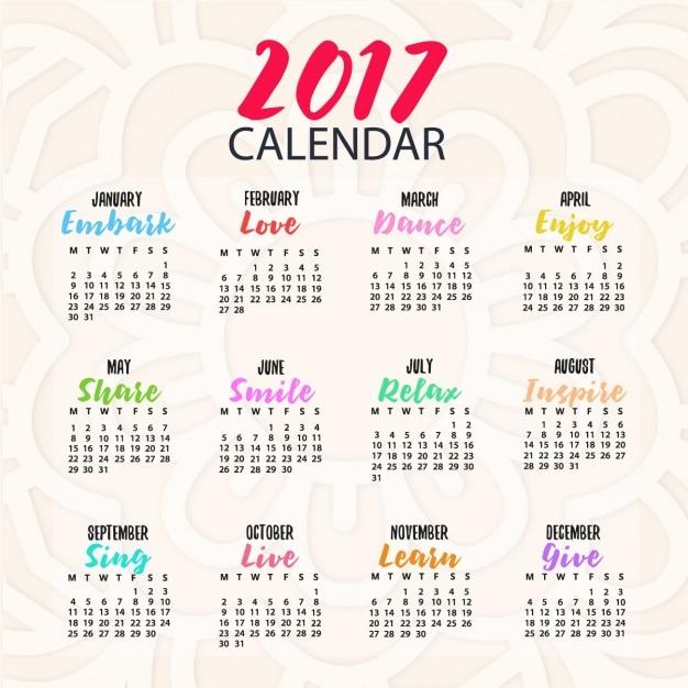 Farbige kalender-design Kostenlosen Vektoren