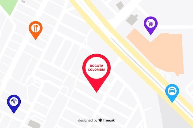 Farbige karte mit stecknadeln Premium Vektoren