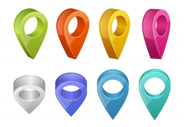 Farbige kartenzeiger. verschiedene farben gps-navigationszeiger Premium Vektoren