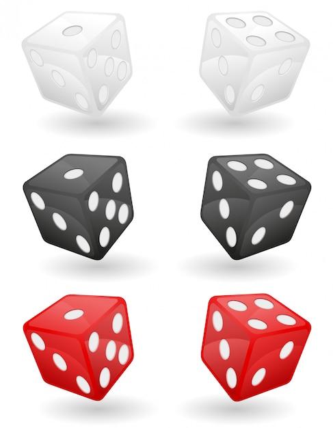 Farbige kasinowürfel-vektorillustration Premium Vektoren