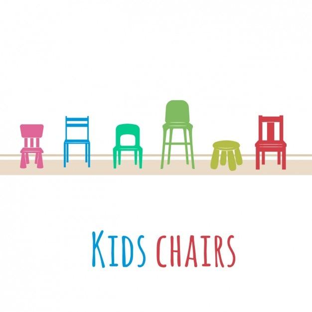 Farbige Kinder Stühle | Download der kostenlosen Vektor