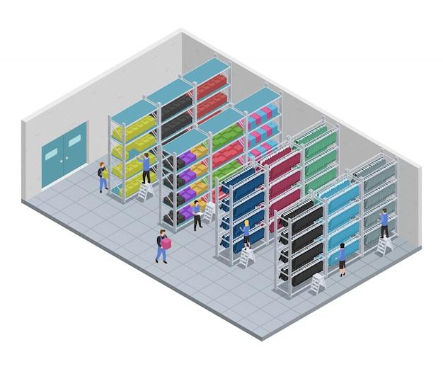 Farbige kleidung, die isometrische zusammensetzung mit leuten näht, die an einer fabrikvektorillustration arbeiten Kostenlosen Vektoren