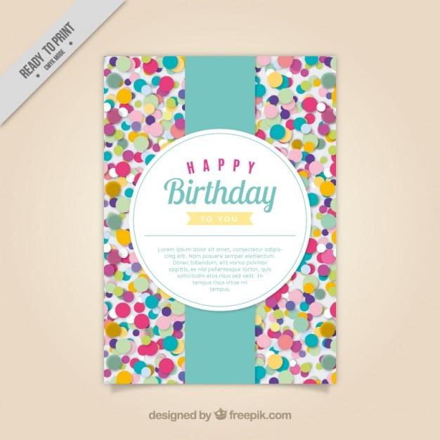 Farbige Konfetti Geburtstagskarte | Download der kostenlosen Vektor