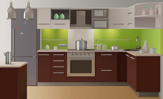 Farbige küche interieur Kostenlosen Vektoren