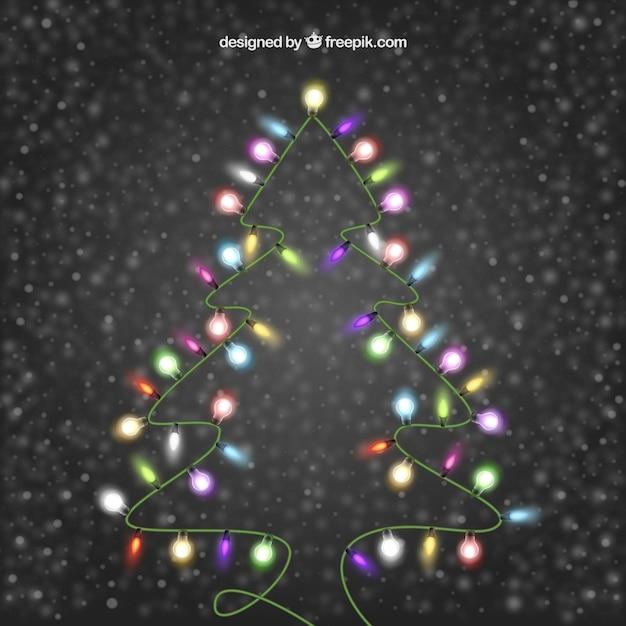 Farbige lichter, einen weihnachtsbaum Kostenlosen Vektoren