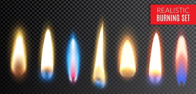 Farbige lokalisierte realistische brennende transparente ikone stellte mit verschiedenen farben und formen der flammenillustration ein Kostenlosen Vektoren