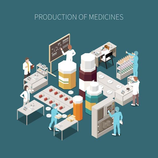 Farbige lokalisierte zusammensetzung der pharmazeutischen produktion mit produktion der medizinbeschreibung und der medizinischen laborillustration Kostenlosen Vektoren
