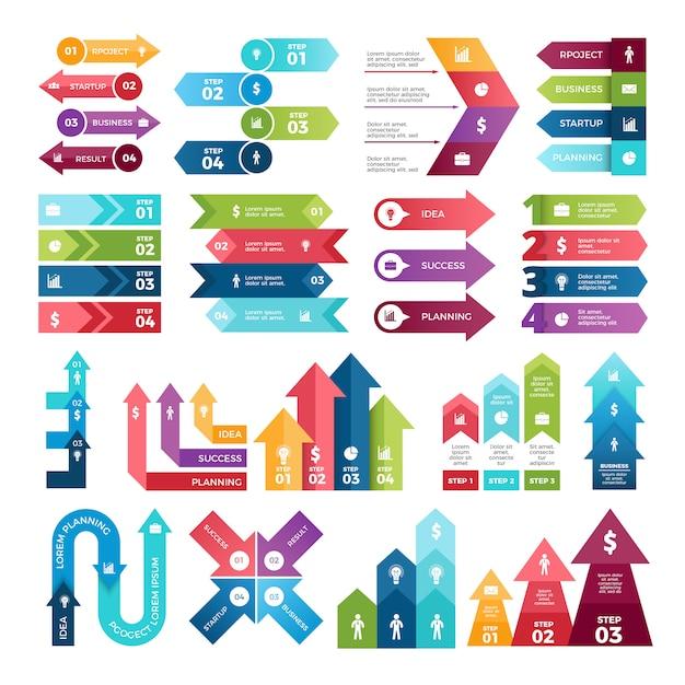 Farbige pfeile für infografiken. Premium Vektoren
