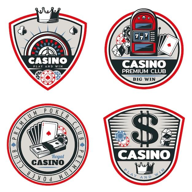 Farbige poker und casino embleme set Kostenlosen Vektoren