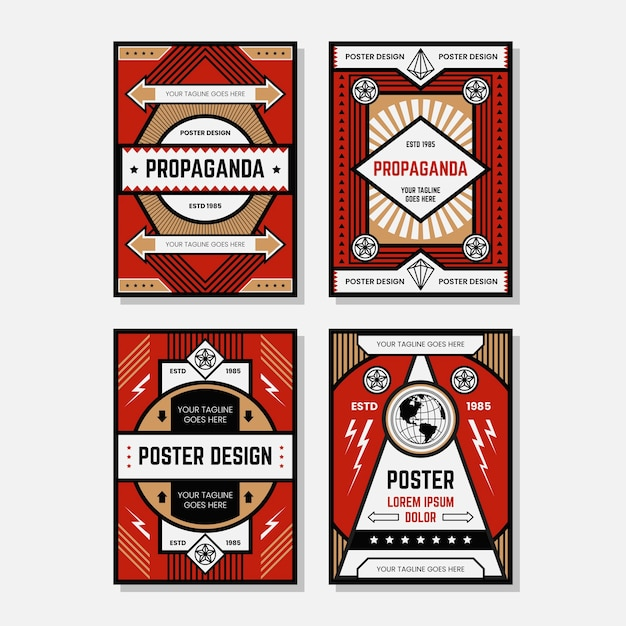 Farbige propagandaplakat-designschablonensammlungen Premium Vektoren