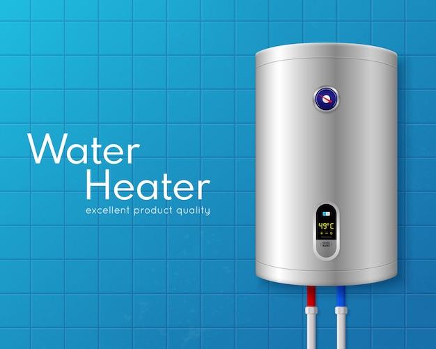 Farbige realistische elektrische warmwasserbereiter-kesselillustration mit großer weißer überschrift und auf hellblauer wand Kostenlosen Vektoren