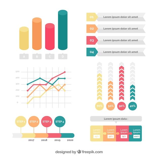 Farbige reihe von großen infografik elemente Kostenlosen Vektoren