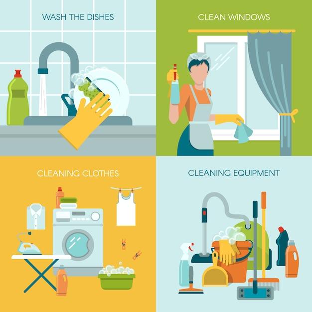Farbige reinigung illustration concept set Kostenlosen Vektoren
