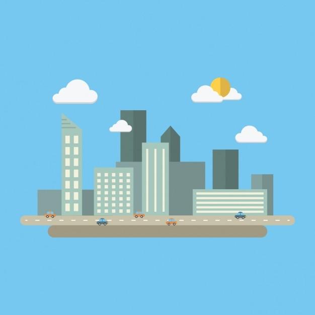 Farbige stadtbild design Kostenlosen Vektoren