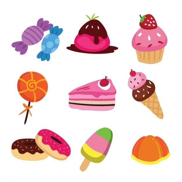 Farbige süßigkeiten sammlung Kostenlosen Vektoren