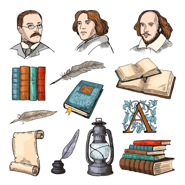 Farbige symbole der literatur und des theaters. doodle bilder festgelegt Premium Vektoren