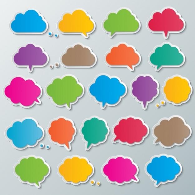 Farbige textblasen Kostenlosen Vektoren