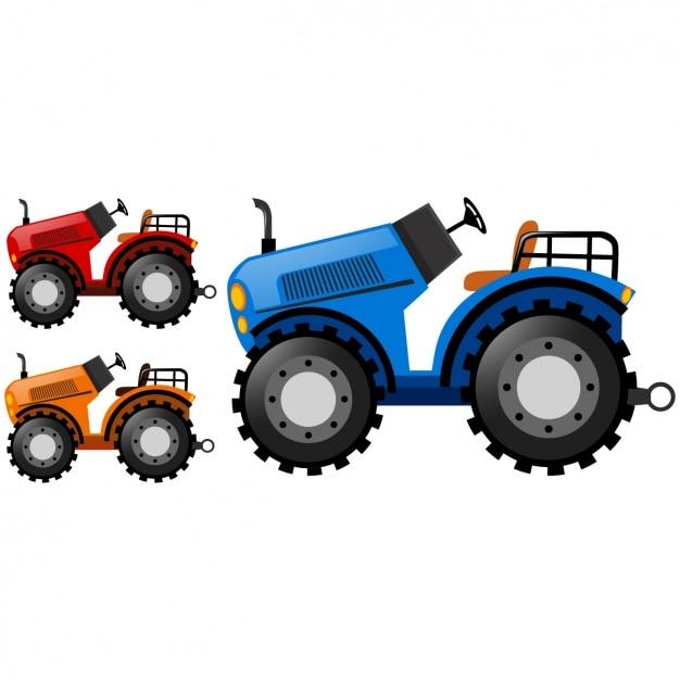 Farbige traktoren sammlung Kostenlosen Vektoren
