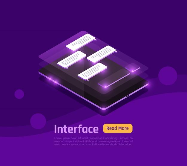 Farbige und isometrische personen und schnittstellen leuchten banner mit abstrakter schnittstelle auf smartphone-bildschirm vektor-illustration Kostenlosen Vektoren
