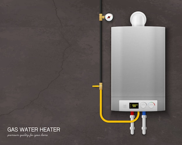 Farbige und realistische gas-warmwasserbereiter-kesselzusammensetzung mit werkzeugen an der wand auf grau Kostenlosen Vektoren