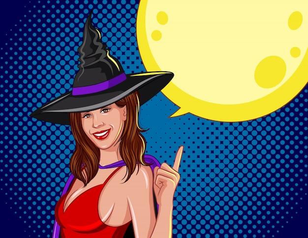 Farbige vektorillustration für halloween. die hexe mit dem mond dahinter. Premium Vektoren