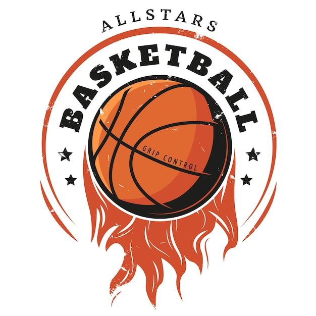 Farbige vintage basketball logo vorlage Kostenlosen Vektoren
