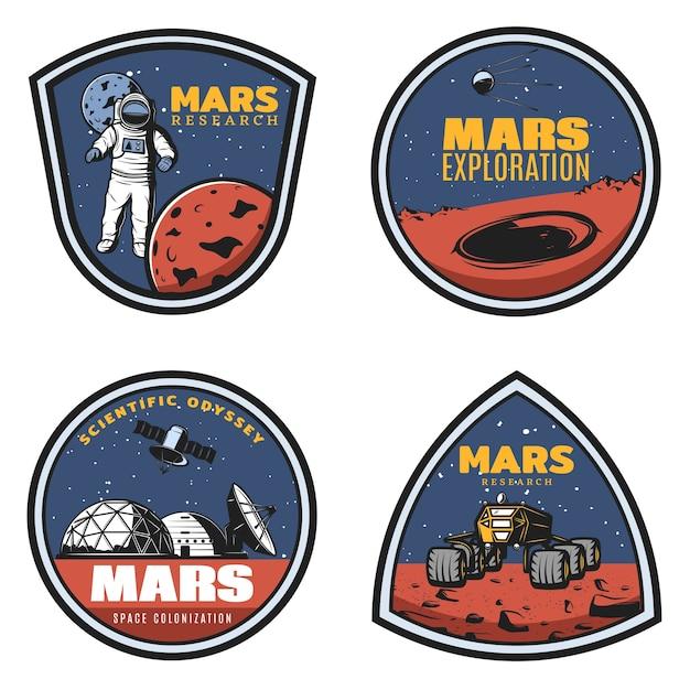 Farbige vintage mars-forschungsembleme mit astronauten Kostenlosen Vektoren
